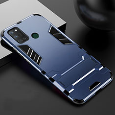 Silicone Matte Finish and Plastic Back Cover Case with Stand for Realme C17 Blue