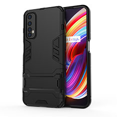 Silicone Matte Finish and Plastic Back Cover Case with Stand for Realme Narzo 20 Pro Black