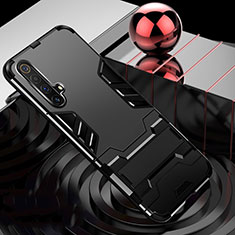 Silicone Matte Finish and Plastic Back Cover Case with Stand for Realme X3 SuperZoom Black