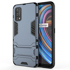 Silicone Matte Finish and Plastic Back Cover Case with Stand for Realme X7 Pro 5G Blue