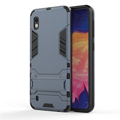 Silicone Matte Finish and Plastic Back Cover Case with Stand for Samsung Galaxy A10 Blue