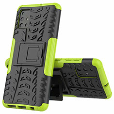 Silicone Matte Finish and Plastic Back Cover Case with Stand for Samsung Galaxy A51 4G Green
