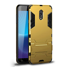 Silicone Matte Finish and Plastic Back Cover Case with Stand for Samsung Galaxy J7 Plus Gold