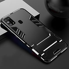 Silicone Matte Finish and Plastic Back Cover Case with Stand for Samsung Galaxy M21s Black