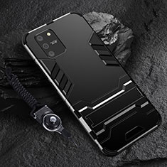 Silicone Matte Finish and Plastic Back Cover Case with Stand for Samsung Galaxy S10 Lite Black