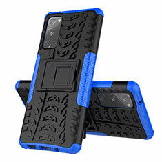 Silicone Matte Finish and Plastic Back Cover Case with Stand for Samsung Galaxy S20 FE 5G Blue