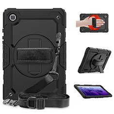 Silicone Matte Finish and Plastic Back Cover Case with Stand for Samsung Galaxy Tab A7 4G 10.4 SM-T505 Black
