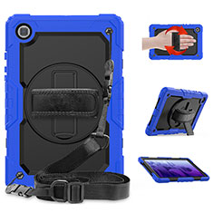 Silicone Matte Finish and Plastic Back Cover Case with Stand for Samsung Galaxy Tab A7 Wi-Fi 10.4 SM-T500 Blue