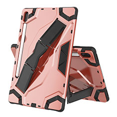 Silicone Matte Finish and Plastic Back Cover Case with Stand for Samsung Galaxy Tab S6 10.5 SM-T860 Rose Gold