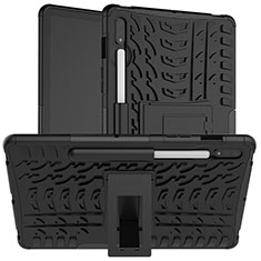Silicone Matte Finish and Plastic Back Cover Case with Stand for Samsung Galaxy Tab S7 4G 11 SM-T875 Black
