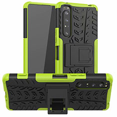 Silicone Matte Finish and Plastic Back Cover Case with Stand for Sony Xperia 1 II Green