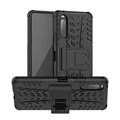 Silicone Matte Finish and Plastic Back Cover Case with Stand for Sony Xperia 10 II Black