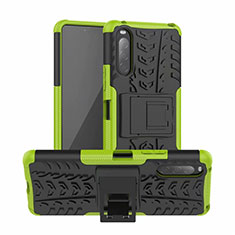 Silicone Matte Finish and Plastic Back Cover Case with Stand for Sony Xperia 10 II Green