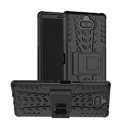 Silicone Matte Finish and Plastic Back Cover Case with Stand for Sony Xperia 10 Plus Black