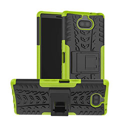 Silicone Matte Finish and Plastic Back Cover Case with Stand for Sony Xperia 10 Plus Green