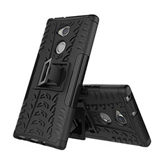 Silicone Matte Finish and Plastic Back Cover Case with Stand for Sony Xperia XA2 Plus Black