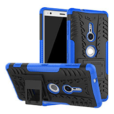 Silicone Matte Finish and Plastic Back Cover Case with Stand for Sony Xperia XZ2 Blue