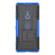 Silicone Matte Finish and Plastic Back Cover Case with Stand for Sony Xperia XZ3 Blue