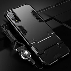 Silicone Matte Finish and Plastic Back Cover Case with Stand for Vivo Y30 Black