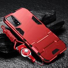 Silicone Matte Finish and Plastic Back Cover Case with Stand for Xiaomi Mi 10T 5G Red