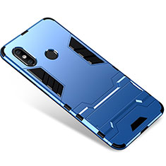 Silicone Matte Finish and Plastic Back Cover Case with Stand for Xiaomi Mi 8 Blue