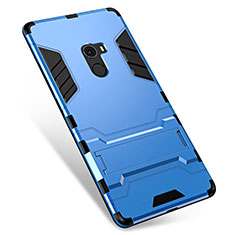 Silicone Matte Finish and Plastic Back Cover Case with Stand for Xiaomi Mi Mix Blue