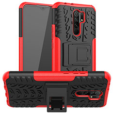 Silicone Matte Finish and Plastic Back Cover Case with Stand for Xiaomi Redmi 9 Red