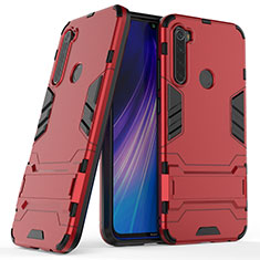 Silicone Matte Finish and Plastic Back Cover Case with Stand for Xiaomi Redmi Note 8 Red