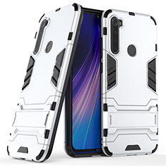 Silicone Matte Finish and Plastic Back Cover Case with Stand for Xiaomi Redmi Note 8 Silver