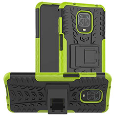 Silicone Matte Finish and Plastic Back Cover Case with Stand for Xiaomi Redmi Note 9 Pro Green