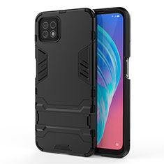 Silicone Matte Finish and Plastic Back Cover Case with Stand M01 for Oppo A73 5G Black