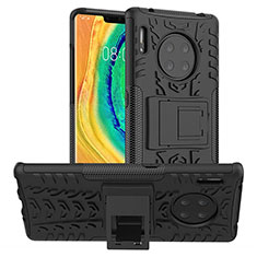 Silicone Matte Finish and Plastic Back Cover Case with Stand R01 for Huawei Mate 30 Black