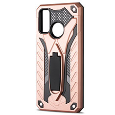 Silicone Matte Finish and Plastic Back Cover Case with Stand R01 for Huawei P Smart (2020) Rose Gold