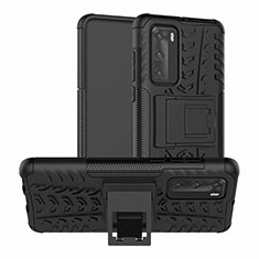 Silicone Matte Finish and Plastic Back Cover Case with Stand R01 for Huawei P40 Black