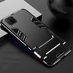 Silicone Matte Finish and Plastic Back Cover Case with Stand R01 for Huawei P40 Lite Black