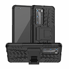 Silicone Matte Finish and Plastic Back Cover Case with Stand R01 for Huawei P40 Pro Black