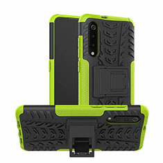 Silicone Matte Finish and Plastic Back Cover Case with Stand R01 for Samsung Galaxy A70 Green