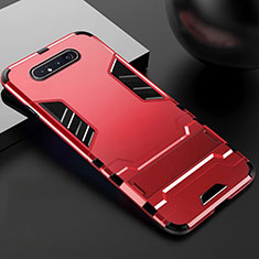 Silicone Matte Finish and Plastic Back Cover Case with Stand R01 for Samsung Galaxy A90 4G Red
