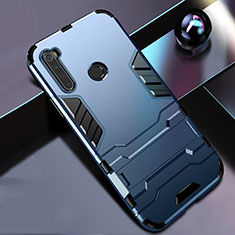 Silicone Matte Finish and Plastic Back Cover Case with Stand R01 for Xiaomi Redmi Note 8 Blue