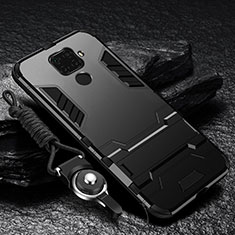 Silicone Matte Finish and Plastic Back Cover Case with Stand R01 for Xiaomi Redmi Note 9 Black