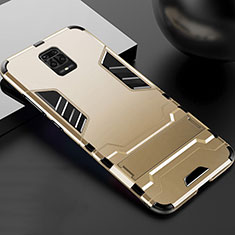Silicone Matte Finish and Plastic Back Cover Case with Stand R01 for Xiaomi Redmi Note 9 Pro Max Gold