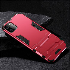 Silicone Matte Finish and Plastic Back Cover Case with Stand R02 for Apple iPhone 11 Pro Red