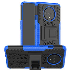 Silicone Matte Finish and Plastic Back Cover Case with Stand R02 for OnePlus 7T Blue