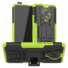 Silicone Matte Finish and Plastic Back Cover Case with Stand R02 for Xiaomi Redmi K30 Pro Zoom Green