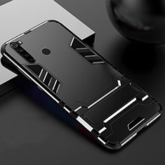Silicone Matte Finish and Plastic Back Cover Case with Stand R02 for Xiaomi Redmi Note 8 Black