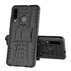 Silicone Matte Finish and Plastic Back Cover Case with Stand R03 for Huawei Honor 20 Lite Black
