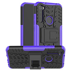 Silicone Matte Finish and Plastic Back Cover Case with Stand R06 for Xiaomi Redmi Note 8 Purple