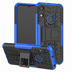 Silicone Matte Finish and Plastic Back Cover Case with Stand Z01 for Huawei Y6 (2019) Blue
