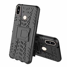 Silicone Matte Finish and Plastic Back Cover Case with Stand Z01 for Xiaomi Mi 8 Black
