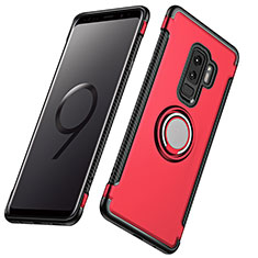 Silicone Matte Finish and Plastic Back Cover with Finger Ring Stand for Samsung Galaxy S9 Plus Red